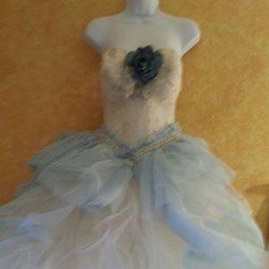 Ivory & Blue Lace & Tulle Corset Ballgown Set